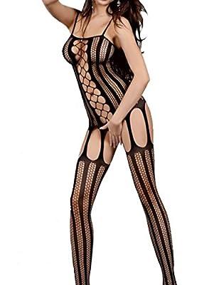 VillyDan Women's Sexy Lingerie Stylish Fishnet BodyStocking One Size