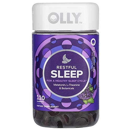 OLLY Restful Sleep Gummy Supplement with Melatonin & L-Theanine Chamomile, BlackBerry Zen, (55 Day Supply) Supports a Healthy Sleep Cycle* Packaging May Vary (110 Gummies)