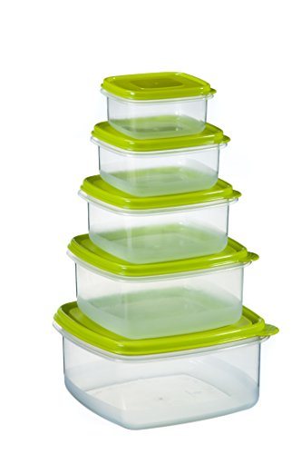 Uniware Super Large Square Plastic Food Container Set with Green Pe Lid, 4.2 Qt + 2.6 Qt + 1.6 Qt + 1 Qt + 0.5 Qt, [7513]