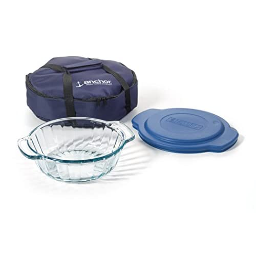 Anchor Hocking 3-Piece 2-Quart Sculpted Baking Dish with Slate Blue Plastic Lid and Blue Tote.