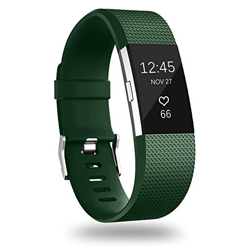 GEAK Bands Replacement for Fitbit Charge 2, Adjustable Sports Wrist Bands for Fitbit Charge 2, Small Classic OliveGreen