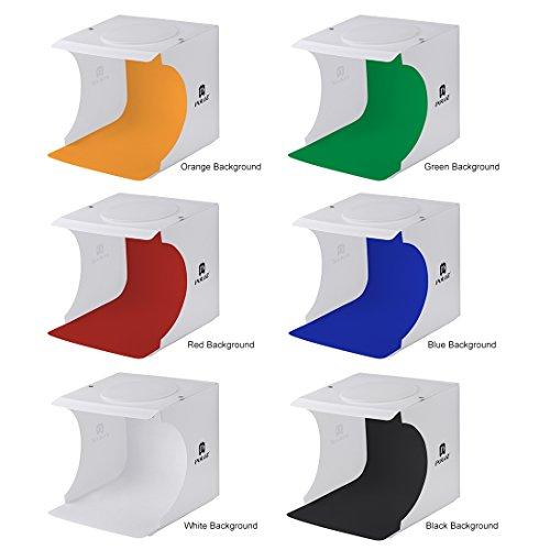 Mini Portable Photo Light Shooting Tent Foldable Studio Box Kit with 2 LED Panels 6 Colors Backdrops (Size:9.5'' x 9'' x 8.7'') by PAULBLUE