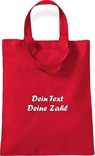 ShirtInStyle kleine Baumwolltasche mit deinem Wunschtext veredelt Farbe Pink rot