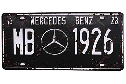 MERCEOES BENZ MB 1926, Metal Tin Sign, Vintage Auto License Plate, Embossed Tag Size 6