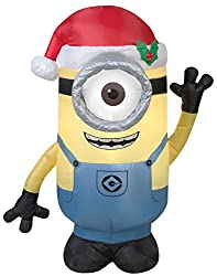 Gemmy Airblown Inflatable Stuart the Minion Wearing a Santa...