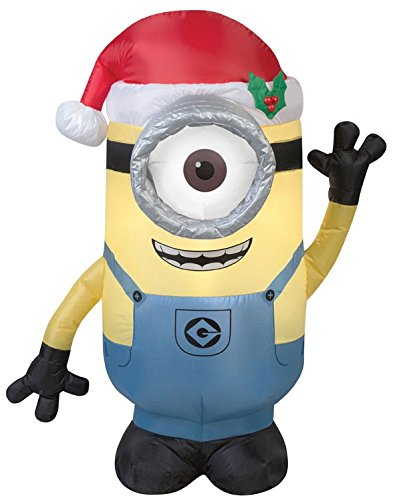 Gemmy Airblown Inflatable Stuart the Minion Wearing a Santa Hat - Holiday Yard Decorations, 3.5-foot Tall