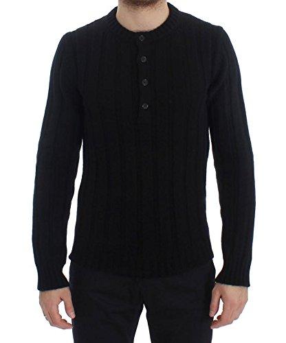 Dolce & Gabbana Black Henley Knitted Cashmere (Cashmere Henley Sweater)