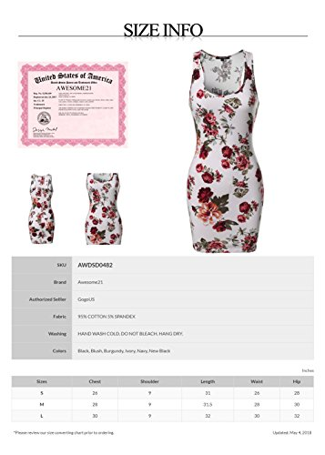 Camouflage Print Or Mini Women's Con Sleeveless Floral Dress Awesome21 Burgundy Solid Awdsd0482 Body xHqSIXwHfn