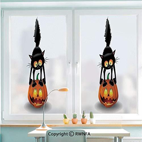 (RWNFA Window Glass Sticker Door Mural Black Cat on Pumpkin Spooky Cartoon Characters Halloween Humor Art Static Cling Privacy No Glue Film Home Decorative 22.8x35.4inch,Orange)