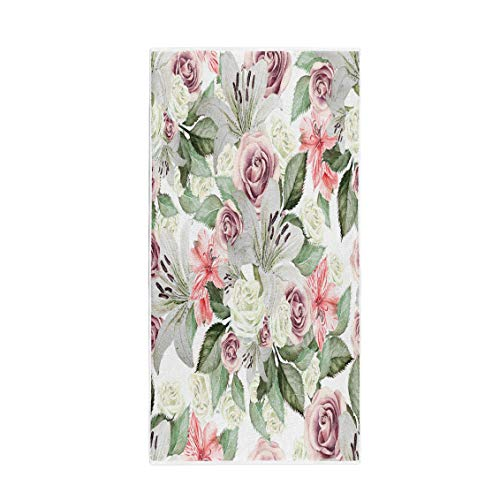 (Semtomn 14 x 30 Inches Bath Towel Colorful Bright Watercolor Flowers Lilies Roses Leaves and Alstroemeri Soft Absorbent Travel Guest Decor Hand Towels Washcloth for Bathroom(One Side Printing))