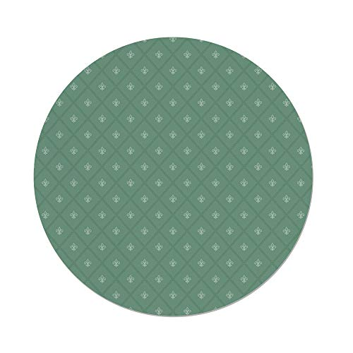 iPrint Polyester Round Tablecloth,Fleur De Lis,Abstract Geometric Pattern Rectangles Royal Lilies Floral Elements Decorative,Reseda Green,Dining Room Kitchen Picnic Table Cloth Cover Outdoor (Moss Green Fleur De Lis)
