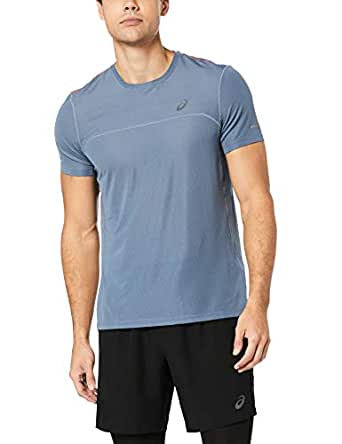 ASICS Australia Men's Cool Short Sleeved Top, Steel Blue/nova Orange, S