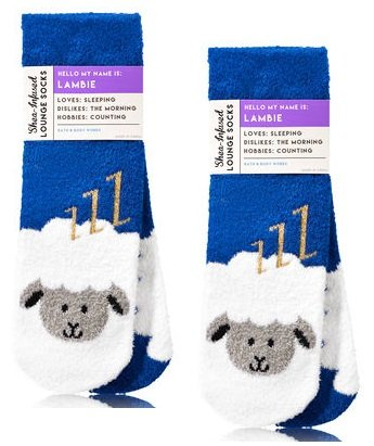 Bath and Body Works 2 Pack Shea-Infused Lounge Socks. Lambie the Lamb.