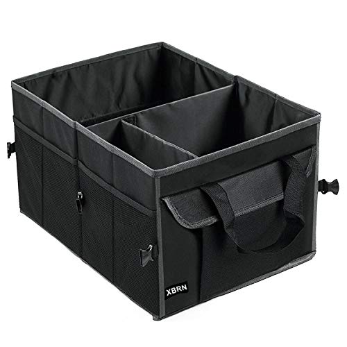 XBRN Car Trunk Organizer for SUV Cargo Storage, Collapsible Auto Grocery Accessories Box,Vehicle Tools or Truck Storage,Black