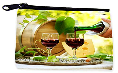 (Sam Sandor - Zipper Coin Pouch - Camera Case - MP3 Case - Vineyard Red Whine and Cheese with Barrel)