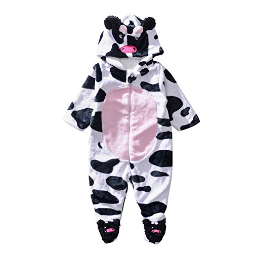 Baby Cow Outfit - Baby Fleece Romper Boys Girls - Toddler Warm Winter Cow Playsuit Christmas Halloween Costume Outfits Newborn Infant Hoodie Jumpsuits(4-6 Months)
