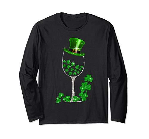 St Patrick's Day Shamrock Wine Glass Long Sleeve