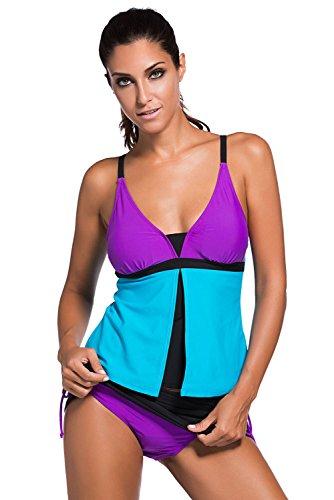 New viola blu colore blocco 2PCS Tankini set bikini Swimwear estivo costume da bagno misure UK 8EU 36