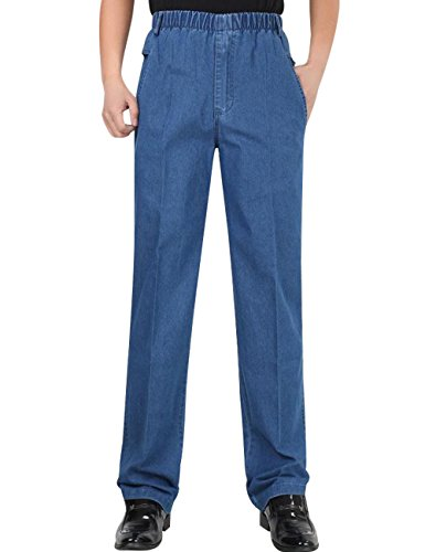 Zoulee Men's Full Elastic Waist Denim Pull On Jeans Straight Trousers Light Blue L