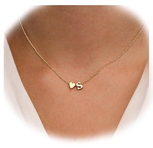 Suyi Exquisite Heart Alphabet Pendant Necklace with English Letter Pendant S