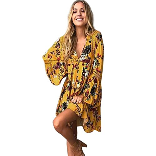 Women Bohemian Vintage Printed Ethnic Style Summer Shift Dress Yellow M