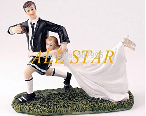 Brand New Romantic football love Couple Figurine wedding cake topper Wedding cake stand cake decoration F-0027]()