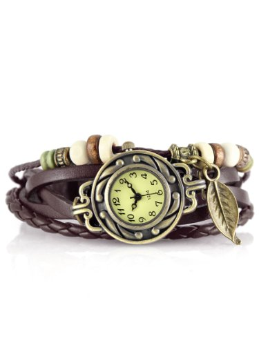 Alienwork Retro Quarz Armbanduhr Wickel Quarzuhr Uhr Armreif Kette wickeln gelb braun Leder J046-07