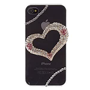 PEACH- ships in 48 hours Fashion Rhinestones 3D Deluxe Heart Design Transparent PC Hard Back Case Cover for iPhone 4/4S