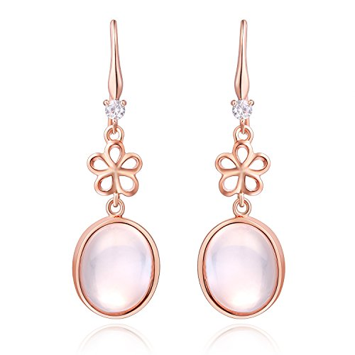 Aurora Tears Transparent Pink Crystal Oval Cut Birthstone Water Drop Dangle Earrings for Women Pink DE0140P