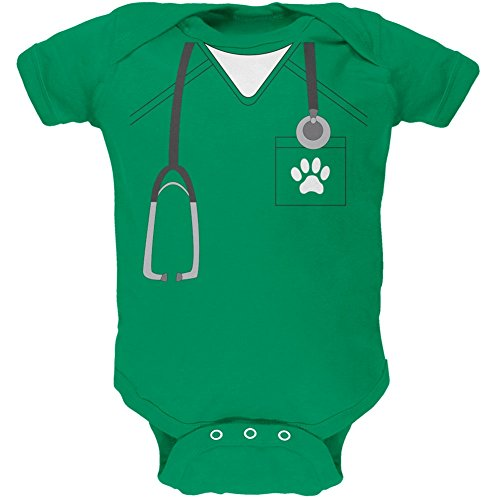 [Halloween Vet Veterinarian Scrubs Costume Kelly Green Soft Baby One Piece - 0-3 months] (Inappropriate Halloween Costumes For Babies)