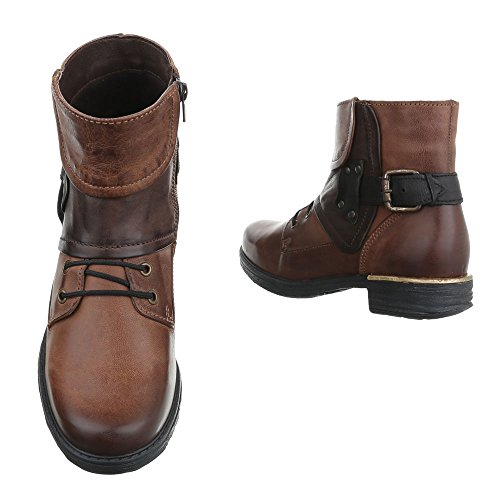 Ital-Design Women's Biker Boots Brown tnFT3i4oT