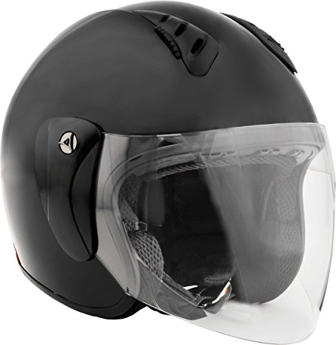 Fuel Helmets SH-WS0016 Open Face Helmet with Shield, Gloss Black, (Approved Gloss Black Motorcycle Helmet)
