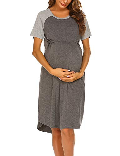 Ekouaer 2 in 1 Maternity and Nursing Dress Nightgown Breastfeeding Sleep Shirt