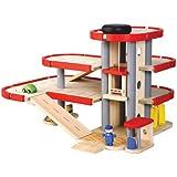 Plan Toys - PT6227 - Jouet en bois - Le parking - garage avec ascenseur, Plan City