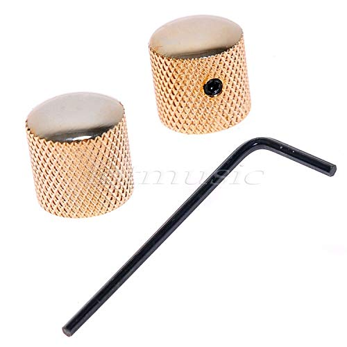 2pcs Bronze Dome Guitar Knob Screw Style Solid Shaft Gold - Gold Mini Dome Guitar Knob