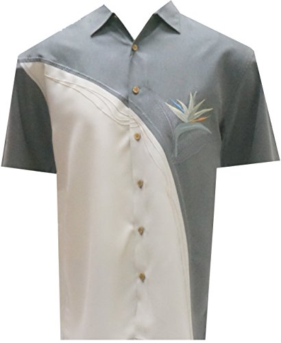Hawaiian Shirts Crazy - Bamboo Cay - Crescent Palms, Men's Tropical Style, Embroidered Button Front Shirt (Large, MD. Grey)