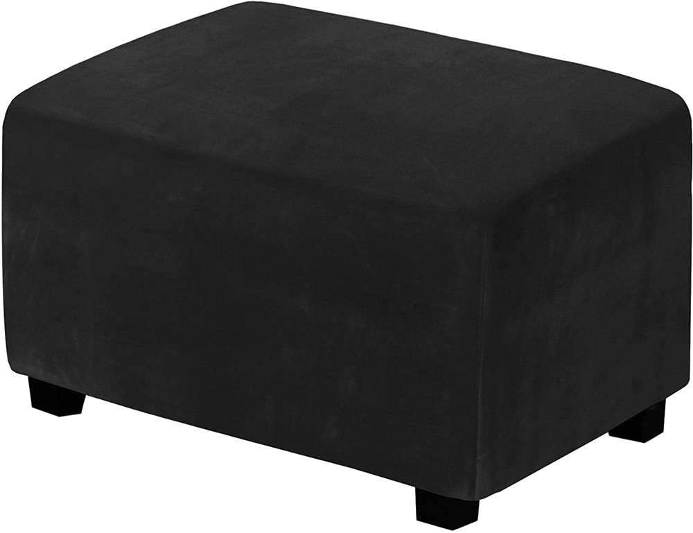 Soft Velvet Footstool Cover,Simple Rectangular Soft Cover,Furniture Protector,Applicable Living Room-Black-M
