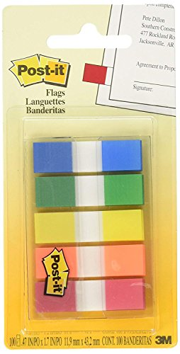 Post-it Flags with On-The-Go Dispenser, Assorted Primary Colors, 1/2-Inch Wide 5NCM, 100/Dispenser, 1-Dispenser/Pack, 2-Pack by Post-it