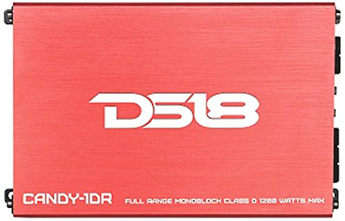 DS18 CANDY-1DR Full Range 1 Channel Class D Monoblock 1200 Watts Max Mini Amplifier with Bass Remote (Red)
