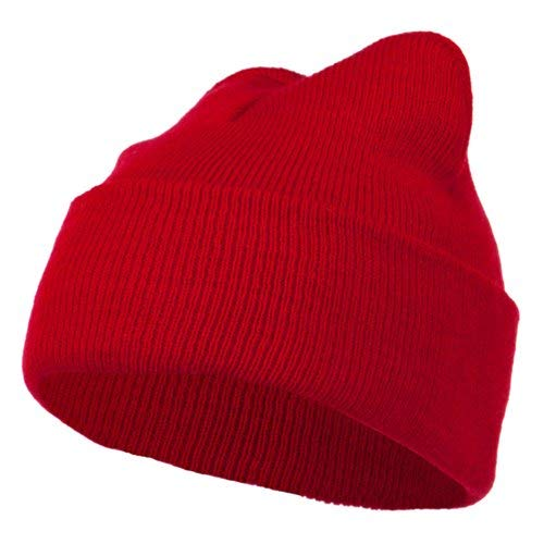 (Super Stretch Knit Watch Cap Beanie - Red)