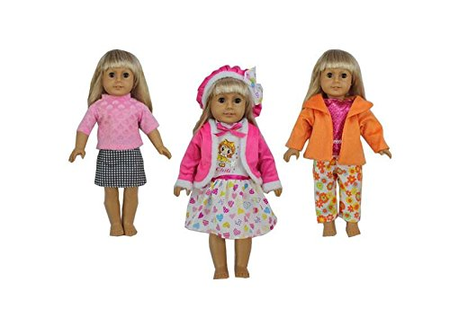 JZ DOLLS American Girl Doll Clothes Wardrobe-3 Outfits,Fits 18