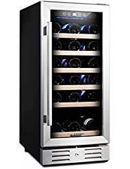 Kalamera 15'' Wine refrigerator 30 Bottle Built-in or Freestanding with Stainless Steel & Double-Layer Tempered...