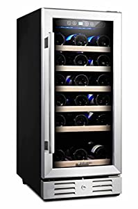 """Kalamera 15"""" Wine Cooler 30 Bottle Built-in or Freestanding with Stainless Steel & Double-Layer Glass Door and Temperature Memory Function"""