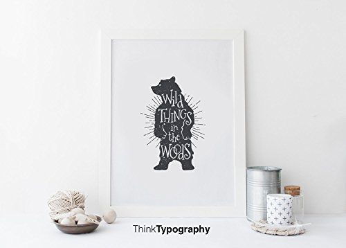 Wild Things in the Woods Bear poster, black and white, simple, mid century art, art print, wall art, home decor, animals, animal wall art