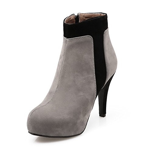 Allhqfashion Women's Assorted Color High-Heels Round Closed Toe Imitated?Suede Zipper Boots Gray PfQd0y9d