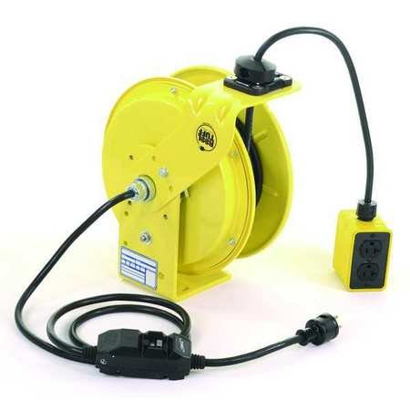 KH Industries RTB Series ReelTuff Industrial Grade Retractable Power Cord Reel with Black Cable, 12/3 SJOW Cable Prewired with GFCI Protected Two Receptacle Outlet Box, 20 Amp, 50' Length, Yellow Powder Coat Finish