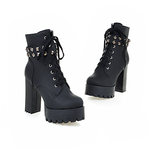 High Ankle Motorcycle Susanny Heel Boots Mid Cowboy Booties Military Lace up Leather Women's Buckle Black3 Calf wPXqrXRO