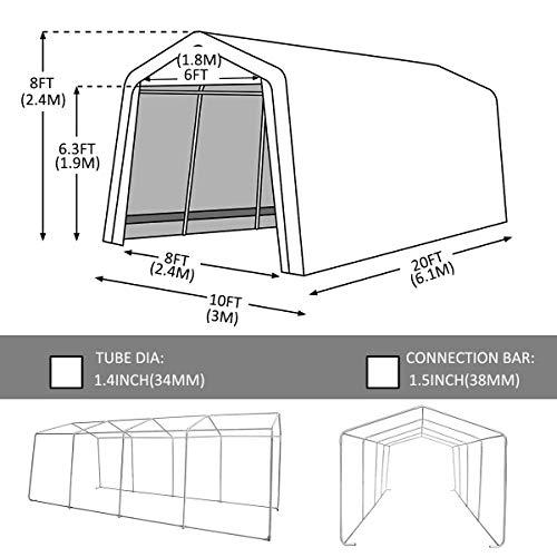 kdgarden 10' x 20' Heavy Duty Carport Portable Garage ...
