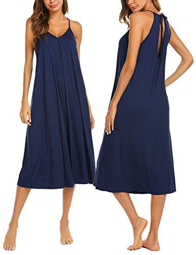 Ekouaer Womens V Neck Sleeveless Nightgown Sleepwear Long Summer Slip Night Dress S-XXL