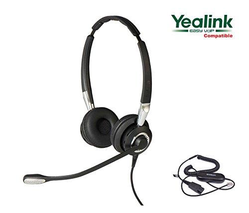 Yealink Certified Jabra BIZ 2400 II Duo Ultra Noise Canceling Headset for SIP-T19P SIP-T20P SIP-T21P SIP-T22P SIP-T26P SIP-T27P SIP-T28P SIP-T32G SIP-T38G SIP-T41P SIP-T42G SIP-T46G SIP-T48G